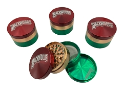 63mm 4 Part Tri Colored Backwoods Aluminum Grinder (Buy 6ct Display Box $6.25 each) MG-002B
