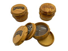 63mm 4 Part Backwoods Wood Finish Top Aluminum Grinder (Buy 6ct Display Box $5.99 each) TG103J