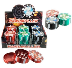 51mm 3 Part Poker Chip Colored Aluminum Grinders (Buy 12ct Display Box for $3.75 each) GR014-B