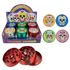 51mm 3 Part Matte Finish Candy Skull Aluminum Grinders (Buy 12ct Display Box for $2.75 each) GR041-MC CSK