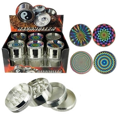 51mm 4 Part Illusions Design Aluminum Grinders (Buy 12ct Display Box for $3.25 each) GR042-FSR