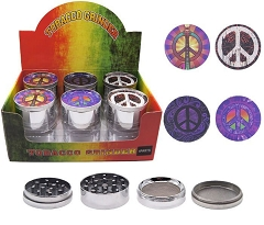 51mm 4 Part Peace Design Aluminum Grinders (Buy 12ct Display Box for $3.25 each) GR042-FPE