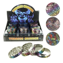 45mm 4 Part Skull Rainbow Design Aluminum Grinders (Buy 12ct Display Box for $5.50 each) GR104-WSK