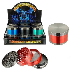 61mm 4 Part Two Tone Design Color Aluminum Grinders (Buy 12ct Display box for $7.25 each) GR131-63