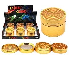 52mm 4 Part Gold Colored Maze Aluminum Grinder (Buy 6ct Display Box $5.99 each) GR150-52GD