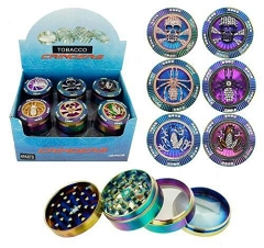 52mm 4 Part Top Mixed Designs Rainbow Aluminum Grinder ((Buy 12ct Display Box for $6.99 each) GR158-52RB