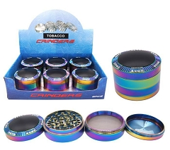 63mm 4 Part Rainbow Black Top and Gem Encrusted Edges Aluminum Grinders (Buy 6ct Display Box for $11.50 each) GR165