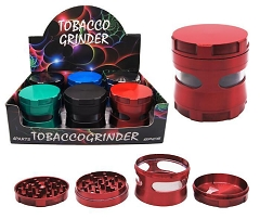 63mm 4 Part Mixed Colored Side Window Aluminum Grinder (Buy 6ct Display Box for $10.75 each) GR172-63
