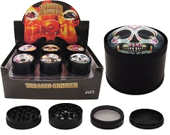 52mm 4 Part UV Painting Candy Skull Black Aluminum Grinders (Buy 12ct Display Box $5.25 each) GR194-52CSK