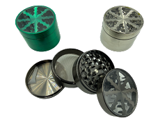 61mm 4 Part Top Wheel Colored Lightning Metal Grinders (Buy 6ct Display Box for $6.25 each) GRZ860LK-4