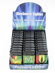 Leaf Designed Regular Flame Mega Lighter 30ct Display J9036-L