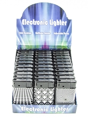 Black/White Designed Regular Flame Mega Lighter 30ct Display J9036-BW