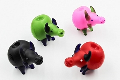 95Gr. Frosted Colored Bob Marley Print Babirusa Animal Glass Pipe (Buy 5+pc $3.50 each)