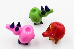 95Gr. Frosted Colored Bob Marley Print 3 Horns Pig Animal Glass Pipe (Buy 5+pc $3.50 each)