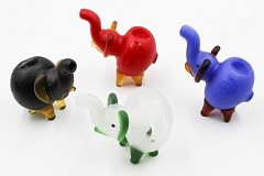 95Gr. Solid Colored Frosted Bob Marley Elephant Glass Animal Pipe