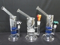 Side Handle Sticker Honeycomb Water Pipe W/ Zig Zag Dome & Bowl