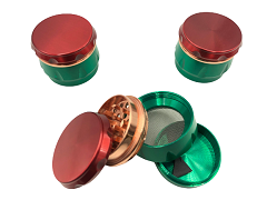 45mm 4 Part Rasta Colored Aluminum Grinder (Buy 12ct Display Box $3.50 each) TG-218S