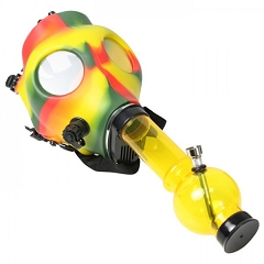 Rasta Color Gas Mask w/ Plastic Water Pipe Different Colors (Comes with Box) MA-002
