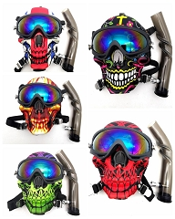 Flame Designed Colored Mixed Skull Gas Mask w/ Goggles & Plastic Water Pipe M013