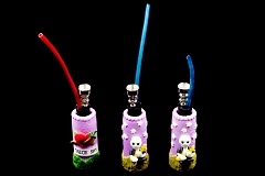 Mixed Designed Glass Base Top Colored Fimo Bottles Water Pipe 0429