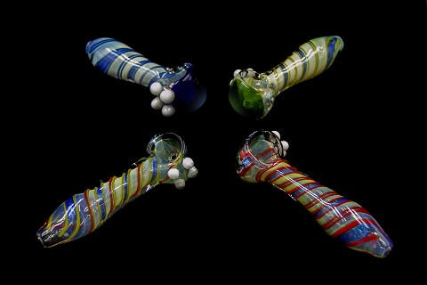 96Gr. Spiral Dichroic Colored Head Stripped Colorful Glass Pipe