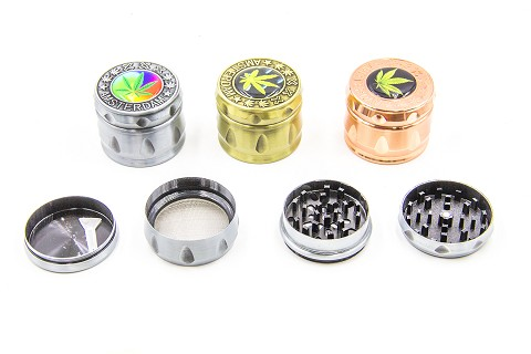 4 Part Medium Colored Amsterdam Metal Grinder (Buy 8pc Display Box $5.99 each) MG-039C