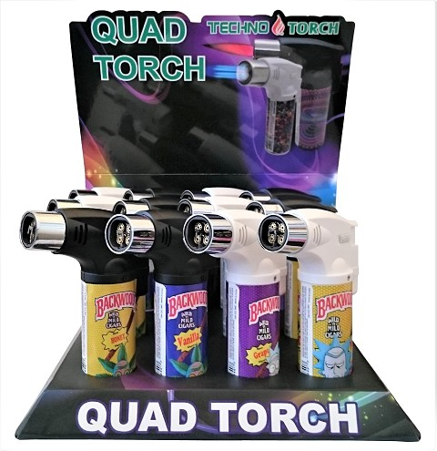 Techno Torch 4 Flame Rick & Morty Colored Quad Torch Lighters 12ct Display Box 26340-BWRM