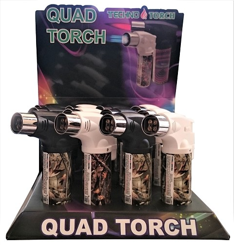 Techno Torch 4 Flame Real Tree Colored Quad Torch Lighters 12ct Display Box 26340-RT