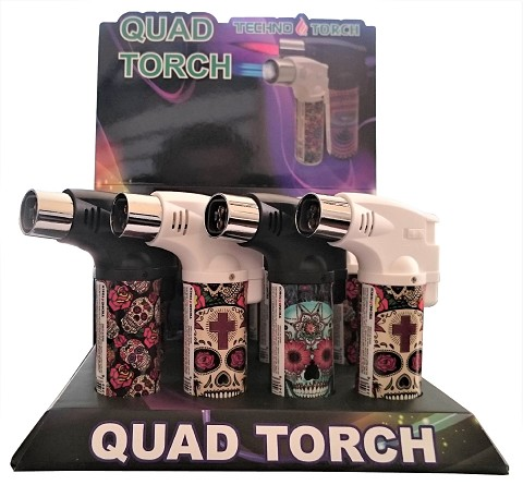 Techno Torch 4 Flame Sugar Skull Colored Quad Torch Lighters 12ct Display Box 26340-SS
