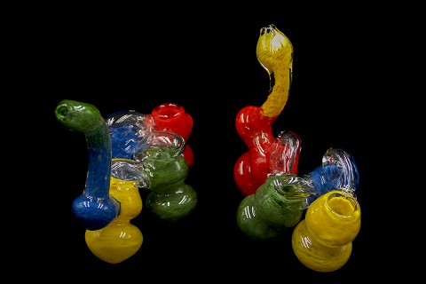 495Gr. 4 Chamber Solid Colored Glass Bubbler