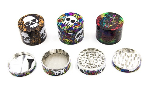 50mm 4 Part UV Painting Skull Colored Design Metal Grinder (Buy 12pc Display $4.99 each) GR174-50SKC