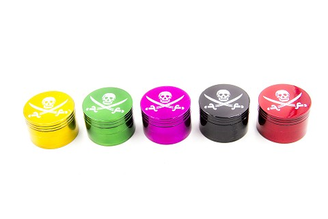 42mm 4 Part Skull Design Colored Metal Grinder