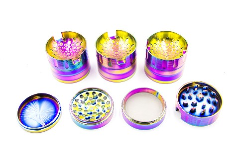 63mm 4 Part Rainbow Top Cigarette Hold Metal Grinder (Buy 6pc Display Box $8.99 each) GR177-63RB
