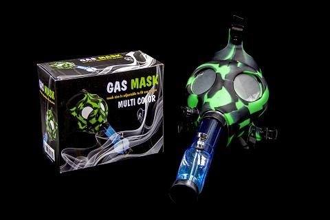 Multi Color Gas Mask w/ Plastic Water Pipe Different Colors (Comes with Box) MA-007