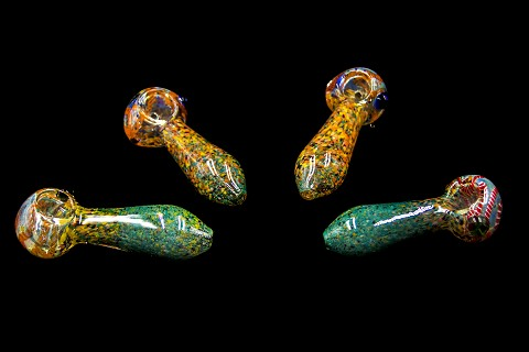 Dotted Fumed Colored Oval Shape Glass Pipe