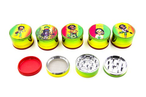 51mm 4 Part Rasta Bob Marley Design Metal Grinder (Buy 12pc Display Box $2.99 each) GR042-CRT