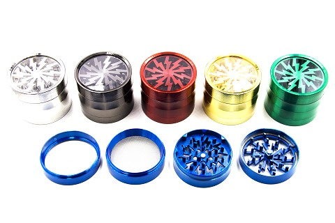 60mm 4 Part Lightning Wheel Colored See Through Metal Grinder (Buy 6pc Display Box $6.99 each) GR142-60C