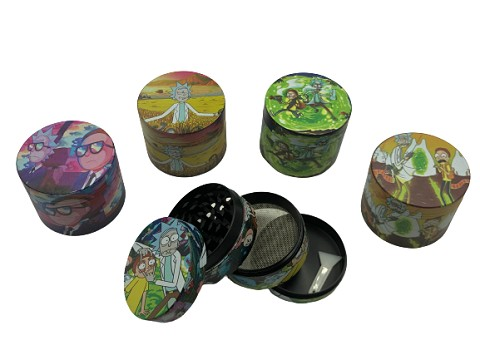 50mm 4 Part Colored Rick Morty Designs Aluminum Grinder (Buy 12ct Box $4.50 each)