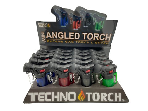 Techno Torch Mini Angled Transparent Torch Lighter 20ct Display Box 10558T