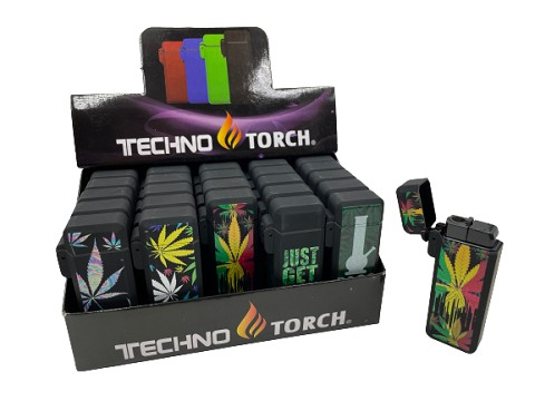 Techno Torch Weed Design Flip Top Torch Lighter 25ct Display Box 258-WA1