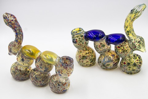 400Gr. Dotted 3 Chamber Colorful Glass Bubbler