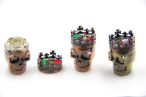 3 Part Colored Skull Grinder AA-92 ( Buy 6 pc $ 2.99 each )