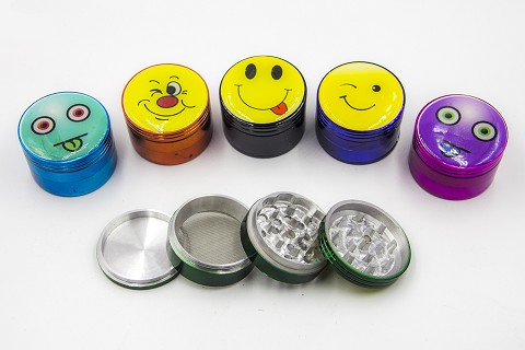 56mm 4 Part Color Smiley Sticker Grinder (Buy 6pc $3.25)