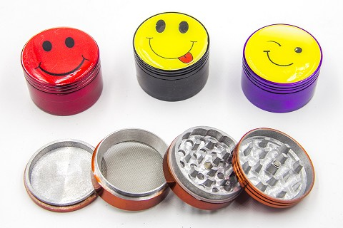 63mm 4 Part Sticker Colored Grinder (Buy 6pc $3.75)