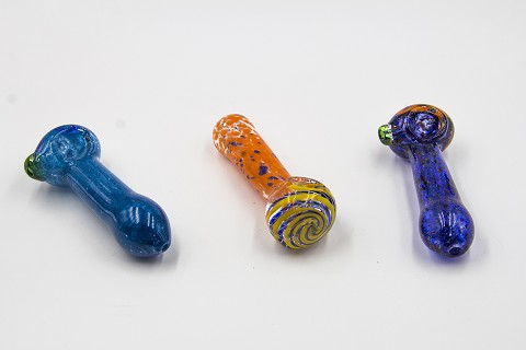 Colored Head Dotted Glass Pipe