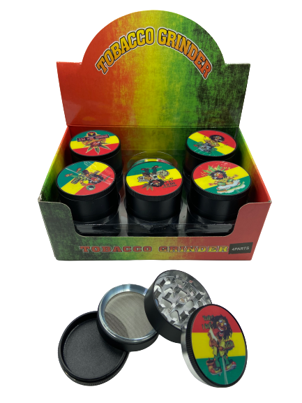 51mm 4 Part Rasta Bob Marley Design Aluminum Grinders (Buy 12ct Display Box for $3.25 each) GR042-BRT