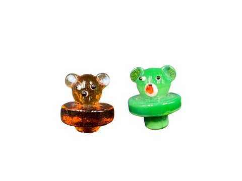 Bear Face Colored Glass Carb Cap