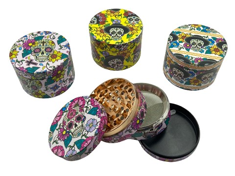 63mm 4 Part Candy Skull Printed Aluminum Grinder (Buy 6ct Display Box $7.50 each) GRZ863ZP-Skull