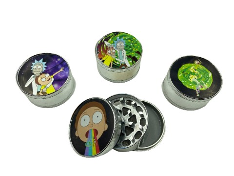 51mm 3 Part Rick & Morty Aluminum Grinder (Buy 12ct Display Box $2.75 each) GR041-FRM