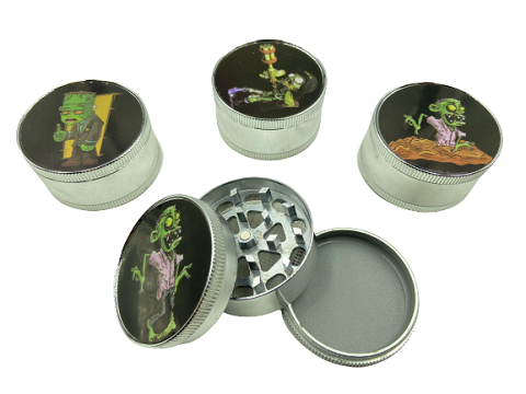 51mm 3 Part Zombie Aluminum Grinder (Buy 12ct Display Box $2.75 each) GR041-FZB